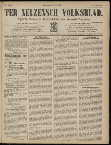Ter Neuzensch Volksblad. Vrijzinnig nieuws- en advertentieblad voor Zeeuwsch- Vlaanderen / Zeeuwsch Nieuwsblad. Nieuws- en advertentieblad voor Zeeland 1917-07-21