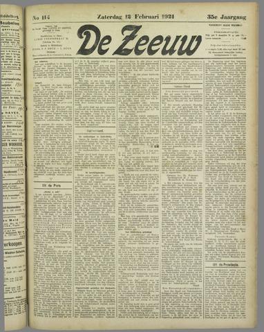 De Zeeuw. Christelijk-historisch nieuwsblad voor Zeeland 1921-02-12