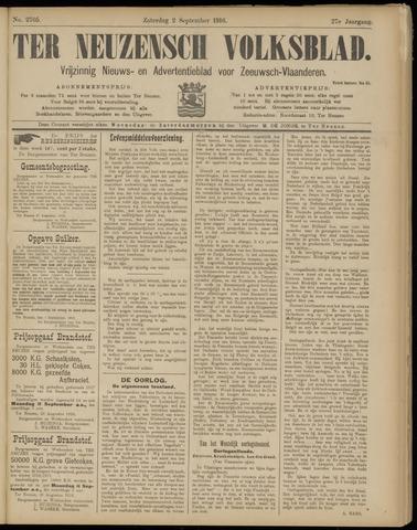 Ter Neuzensch Volksblad. Vrijzinnig nieuws- en advertentieblad voor Zeeuwsch- Vlaanderen / Zeeuwsch Nieuwsblad. Nieuws- en advertentieblad voor Zeeland 1916-09-02