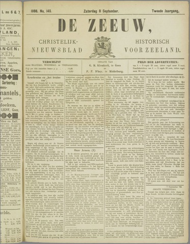 De Zeeuw. Christelijk-historisch nieuwsblad voor Zeeland 1888-09-08