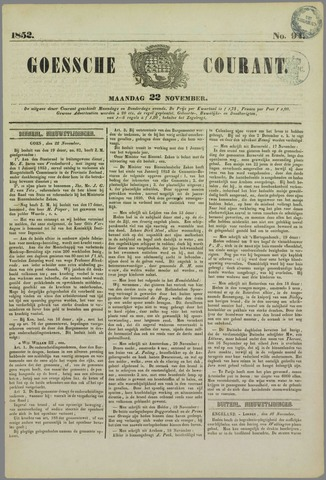 Goessche Courant 1852-11-22