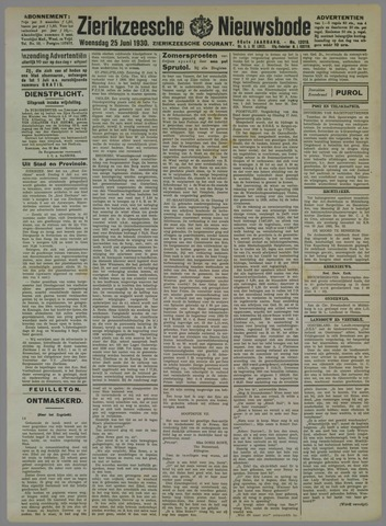 Zierikzeesche Nieuwsbode 1930-06-25