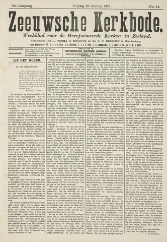 Zeeuwsche kerkbode, weekblad gewijd aan de belangen der gereformeerde kerken/ Zeeuwsch kerkblad 1916-10-27