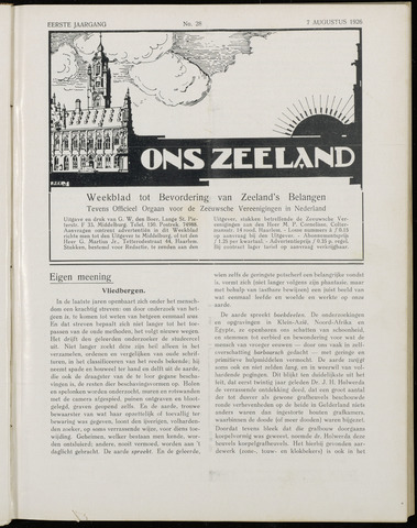Ons Zeeland / Zeeuwsche editie 1926-08-07