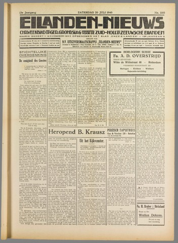 Eilanden-nieuws. Christelijk streekblad op gereformeerde grondslag 1940-07-20