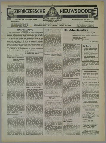 Zierikzeesche Nieuwsbode 1941-02-14
