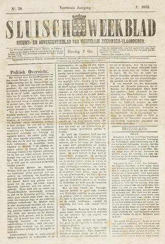 Sluisch Weekblad. Nieuws- en advertentieblad voor Westelijk Zeeuwsch-Vlaanderen 1873-10-07