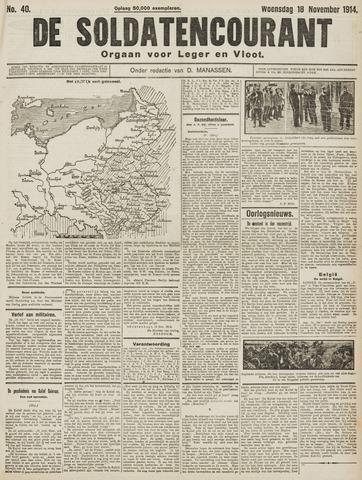 De Soldatencourant. Orgaan voor Leger en Vloot 1914-11-18