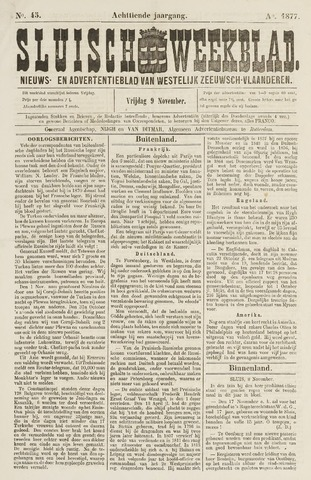 Sluisch Weekblad. Nieuws- en advertentieblad voor Westelijk Zeeuwsch-Vlaanderen 1877-11-09