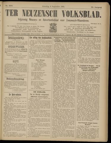 Ter Neuzensch Volksblad. Vrijzinnig nieuws- en advertentieblad voor Zeeuwsch- Vlaanderen / Zeeuwsch Nieuwsblad. Nieuws- en advertentieblad voor Zeeland 1915-09-04
