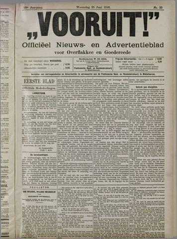 """""""Vooruit!""""Officieel Nieuws- en Advertentieblad voor Overflakkee en Goedereede 1916-06-28"""