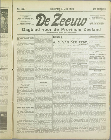 De Zeeuw. Christelijk-historisch nieuwsblad voor Zeeland 1929-06-27
