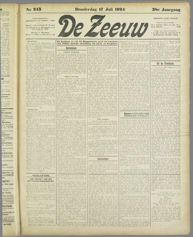 De Zeeuw. Christelijk-historisch nieuwsblad voor Zeeland 1924-07-17