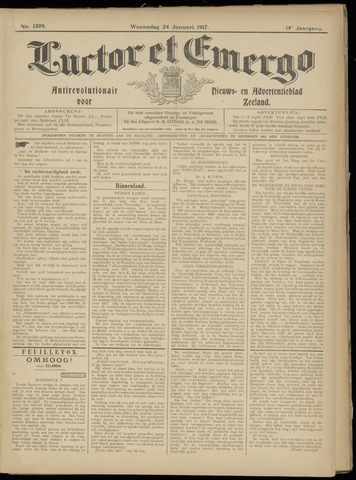 Luctor et Emergo. Antirevolutionair nieuws- en advertentieblad voor Zeeland / Zeeuwsch-Vlaanderen. Orgaan ter verspreiding van de christelijke beginselen in Zeeuwsch-Vlaanderen 1917-01-24