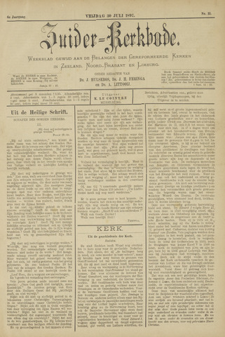 Zuider Kerkbode, Weekblad gewijd aan de belangen der gereformeerde kerken in Zeeland, Noord-Brabant en Limburg. 1897-07-30