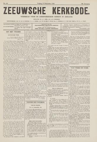 Zeeuwsche kerkbode, weekblad gewijd aan de belangen der gereformeerde kerken/ Zeeuwsch kerkblad 1936-11-13