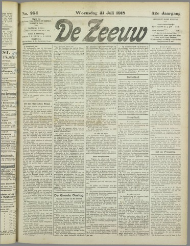 De Zeeuw. Christelijk-historisch nieuwsblad voor Zeeland 1918-07-31