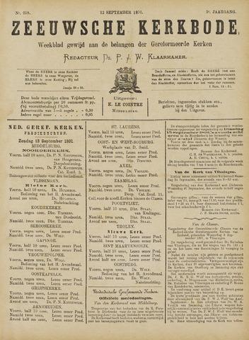 Zeeuwsche kerkbode, weekblad gewijd aan de belangen der gereformeerde kerken/ Zeeuwsch kerkblad 1891-09-12