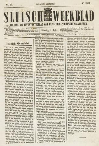 Sluisch Weekblad. Nieuws- en advertentieblad voor Westelijk Zeeuwsch-Vlaanderen 1873-07-01