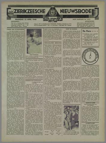 Zierikzeesche Nieuwsbode 1940-04-22