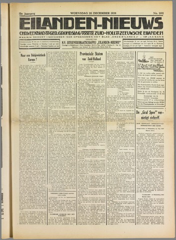 Eilanden-nieuws. Christelijk streekblad op gereformeerde grondslag 1939-12-20