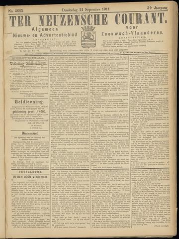 Ter Neuzensche Courant. Algemeen Nieuws- en Advertentieblad voor Zeeuwsch-Vlaanderen / Neuzensche Courant ... (idem) / (Algemeen) nieuws en advertentieblad voor Zeeuwsch-Vlaanderen 1911-09-21