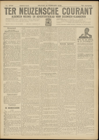 Ter Neuzensche Courant. Algemeen Nieuws- en Advertentieblad voor Zeeuwsch-Vlaanderen / Neuzensche Courant ... (idem) / (Algemeen) nieuws en advertentieblad voor Zeeuwsch-Vlaanderen 1938-02-18