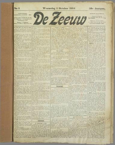 De Zeeuw. Christelijk-historisch nieuwsblad voor Zeeland 1924-10-01
