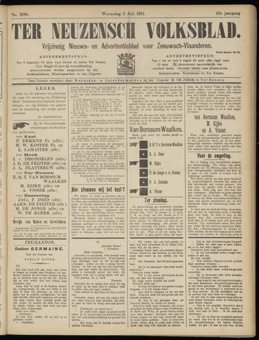 Ter Neuzensch Volksblad. Vrijzinnig nieuws- en advertentieblad voor Zeeuwsch- Vlaanderen / Zeeuwsch Nieuwsblad. Nieuws- en advertentieblad voor Zeeland 1911-07-05