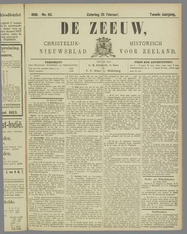 De Zeeuw. Christelijk-historisch nieuwsblad voor Zeeland 1888-02-25