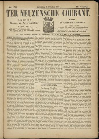 Ter Neuzensche Courant. Algemeen Nieuws- en Advertentieblad voor Zeeuwsch-Vlaanderen / Neuzensche Courant ... (idem) / (Algemeen) nieuws en advertentieblad voor Zeeuwsch-Vlaanderen 1881-10-08