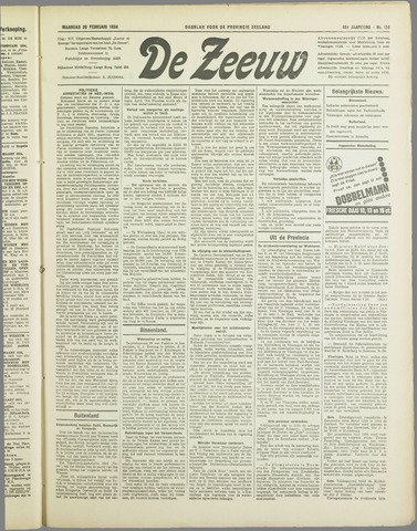 De Zeeuw. Christelijk-historisch nieuwsblad voor Zeeland 1934-02-26