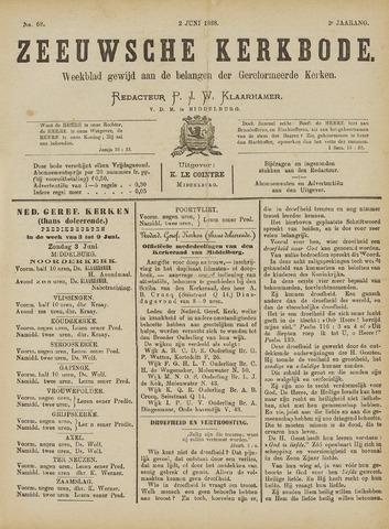 Zeeuwsche kerkbode, weekblad gewijd aan de belangen der gereformeerde kerken/ Zeeuwsch kerkblad 1888-06-02
