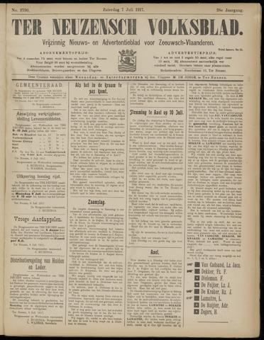 Ter Neuzensch Volksblad. Vrijzinnig nieuws- en advertentieblad voor Zeeuwsch- Vlaanderen / Zeeuwsch Nieuwsblad. Nieuws- en advertentieblad voor Zeeland 1917-07-07