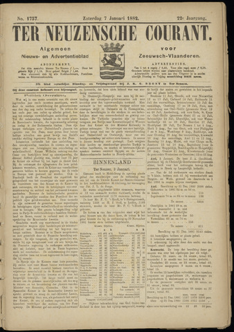 Ter Neuzensche Courant. Algemeen Nieuws- en Advertentieblad voor Zeeuwsch-Vlaanderen / Neuzensche Courant ... (idem) / (Algemeen) nieuws en advertentieblad voor Zeeuwsch-Vlaanderen 1882-01-07