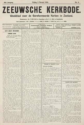 Zeeuwsche kerkbode, weekblad gewijd aan de belangen der gereformeerde kerken/ Zeeuwsch kerkblad 1926-02-05