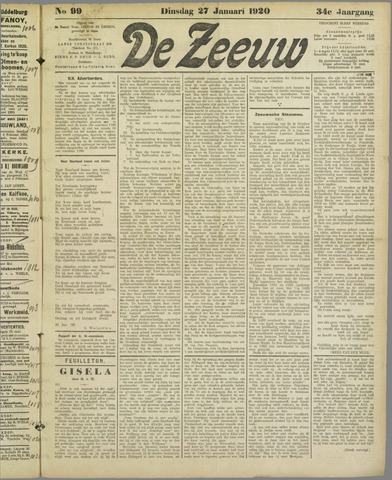 De Zeeuw. Christelijk-historisch nieuwsblad voor Zeeland 1920-01-27