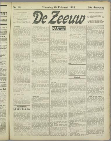 De Zeeuw. Christelijk-historisch nieuwsblad voor Zeeland 1924-02-18