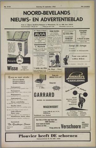 Noord-Bevelands Nieuws- en advertentieblad 1962-09-22