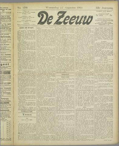 De Zeeuw. Christelijk-historisch nieuwsblad voor Zeeland 1919-08-27