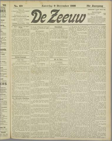 De Zeeuw. Christelijk-historisch nieuwsblad voor Zeeland 1916-12-09