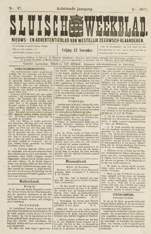 Sluisch Weekblad. Nieuws- en advertentieblad voor Westelijk Zeeuwsch-Vlaanderen 1877-11-23