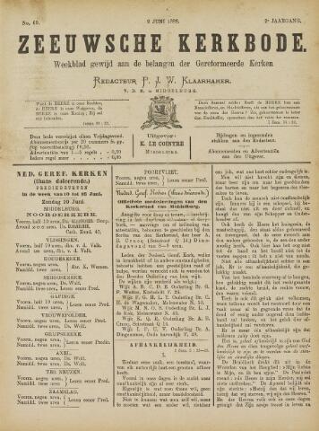 Zeeuwsche kerkbode, weekblad gewijd aan de belangen der gereformeerde kerken/ Zeeuwsch kerkblad 1888-06-09