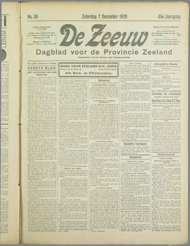 De Zeeuw. Christelijk-historisch nieuwsblad voor Zeeland 1929-12-07
