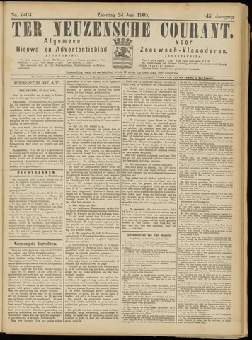 Ter Neuzensche Courant. Algemeen Nieuws- en Advertentieblad voor Zeeuwsch-Vlaanderen / Neuzensche Courant ... (idem) / (Algemeen) nieuws en advertentieblad voor Zeeuwsch-Vlaanderen 1905-06-24