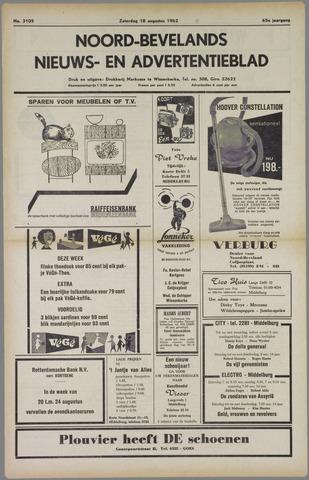 Noord-Bevelands Nieuws- en advertentieblad 1962-08-18
