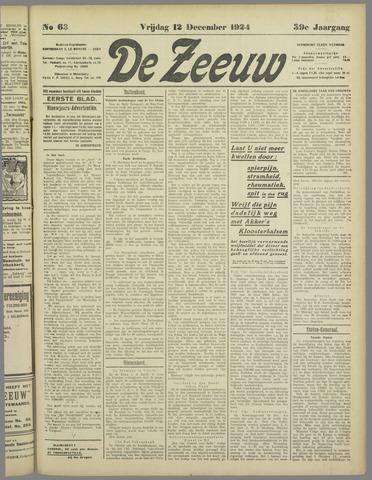De Zeeuw. Christelijk-historisch nieuwsblad voor Zeeland 1924-12-12