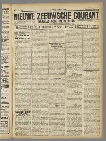 Nieuwe Zeeuwsche Courant 1922-04-22