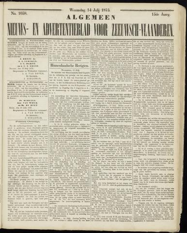 Ter Neuzensche Courant. Algemeen Nieuws- en Advertentieblad voor Zeeuwsch-Vlaanderen / Neuzensche Courant ... (idem) / (Algemeen) nieuws en advertentieblad voor Zeeuwsch-Vlaanderen 1875-07-14