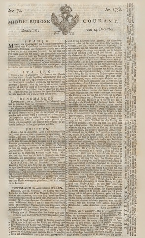 Middelburgsche Courant 1758-12-14